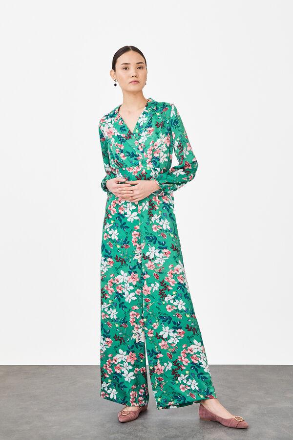 2200192c133 Cortefiel Mono estampado con flor oriental Verde