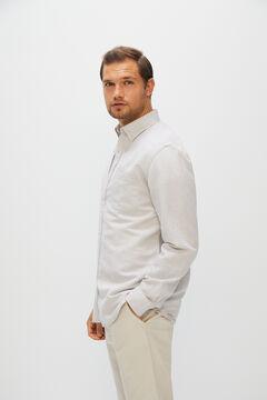 Cortefiel Camisa lisa algodón lino Beige