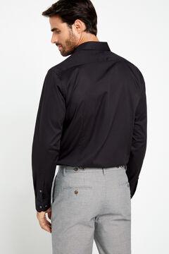 Cortefiel Stretch poplin shirt Black