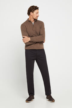 Cortefiel Slim fit winter weight chinos Black