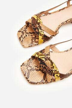 Cortefiel Snakeskin print sandal with intertwined straps Kaki