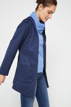 Cortefiel Faux suede jacket with hood Navy