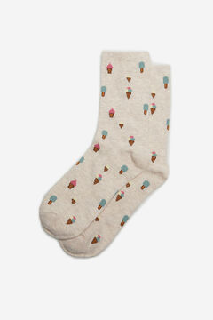 Cortefiel Long ice cream print socks Stone