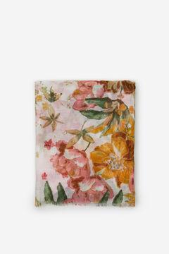 Cortefiel Floral print fine scarf White