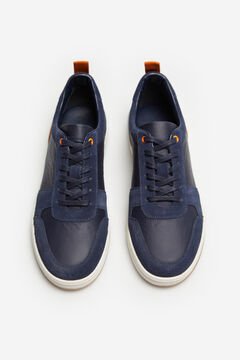 Cortefiel Lace-up rubber sole trainer Navy