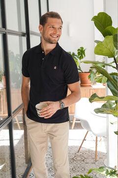 Cortefiel Essential short-sleeved polo shirt Black