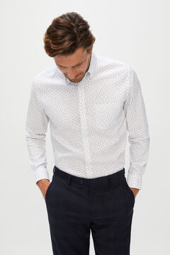 Cortefiel Printed shirt slim coolmax eco-made stretch Navy