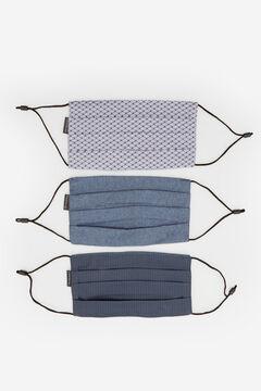Cortefiel Pack de 3 máscaras higiénicas reutilizáveis Azul