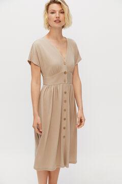 Cortefiel Jersey-knit sash dress Beige