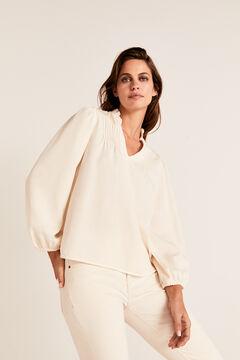 Cortefiel Tencel pintuck blouse Ecru