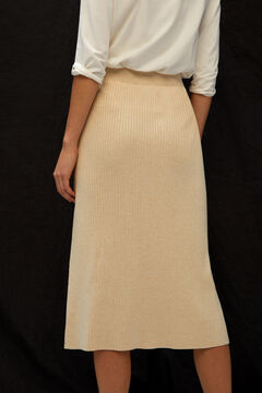 Cortefiel Ribbed knit skirt White