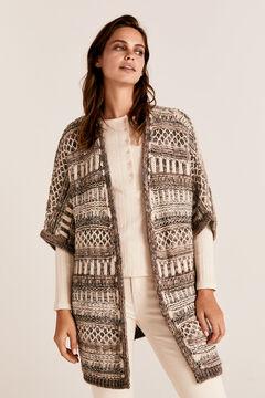 Cortefiel Multi-yarn jacquard poncho Tobaco