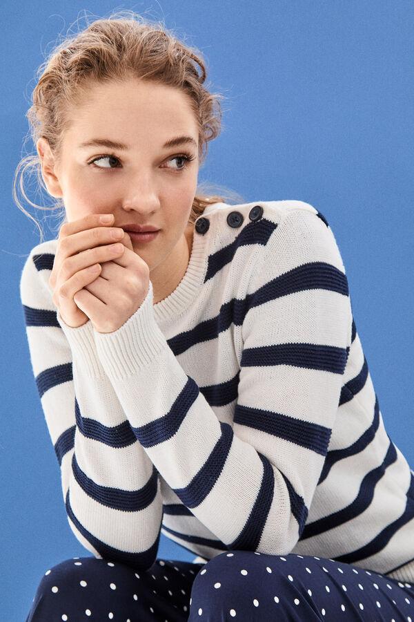 Cortefiel Jersey rayas con botones Azul 518f65ac2e1e