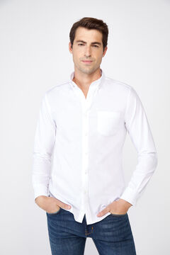 Cortefiel Plain extra soft cotton easy-iron shirt White