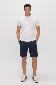 Cortefiel Short-sleeved polo shirt with mandarin collar White