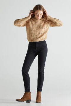 Cortefiel High rise cigarette jeans Black
