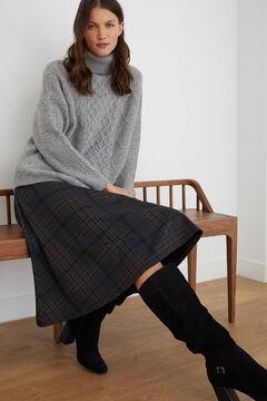 Cortefiel Jersey-knit midi skirt Blue