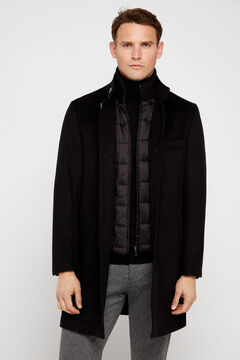 Cortefiel Coat with stand-up collar and removable lining Black