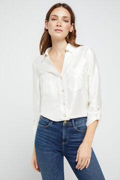 Cortefiel Lamé shirt White