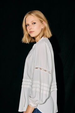Cortefiel Lace dobby blouse White