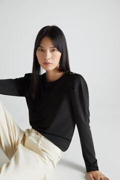 Cortefiel Puffed sleeve piqué T-shirt Black