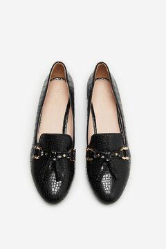 Cortefiel Embossed slipper with horsebit and tassels Black