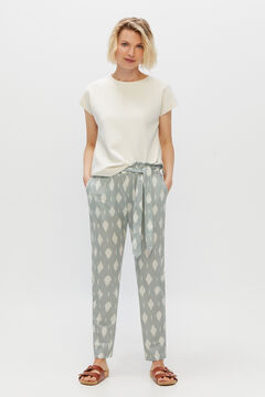 Cortefiel Paperbag trousers in comfortable fabric Natural