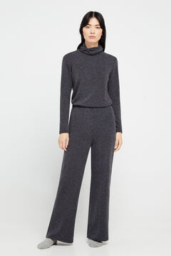 Cortefiel Straight jersey-knit trousers Gray