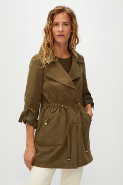Cortefiel Fluid water-repellent trench coat Green