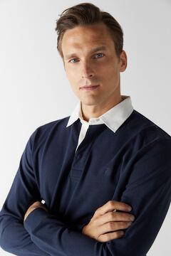 Cortefiel Plain long-sleeved polo shirt Navy