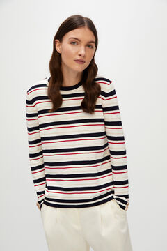 Cortefiel Striped jumper with buttons Red garnet