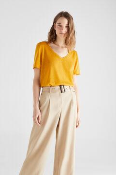 Cortefiel Linen effect V-neck t-shirt Beige
