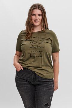 Cortefiel T-shirt mensagem Curve Verde