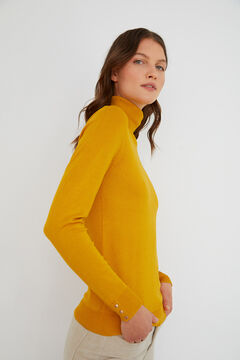 Cortefiel Jersey cuello vuelto Amarillo