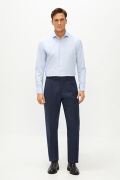 Cortefiel Classic fit birdseye suit trousers Royal blue