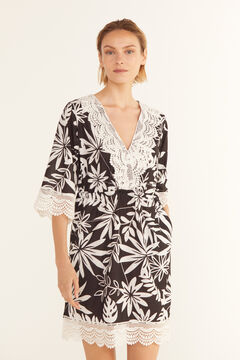 Cortefiel Printed kaftan with crochet Gray