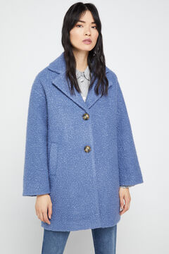 Cortefiel Eco-friendly bouclé coat Stone