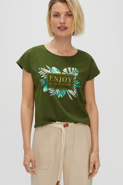 Cortefiel Printed T-shirt Green