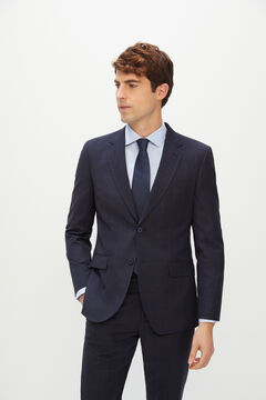 Cortefiel Slim fit blue checked suit blazer Navy