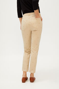Cortefiel Embroidered jeans Brown