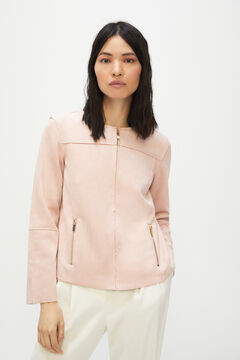 Cortefiel Suede bomber jacket Pink
