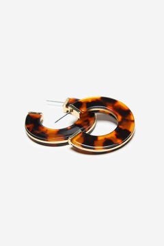 Cortefiel Tortoiseshell hoop earrings Tobaco