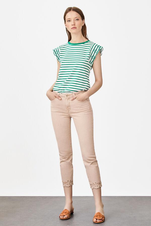 07223e001d Cortefiel Jeans bordado slim Beige · Comprar