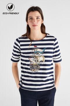 Cortefiel Camiseta marinera algodón orgánico Azul