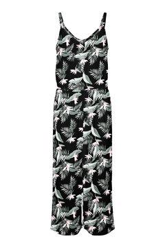 Cortefiel Printed culotte jumpsuit Black