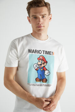 Cortefiel Short-sleeved Super Mario T-shirt Ecru