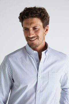 Cortefiel Striped shirt in extra soft, easy care cotton Navy