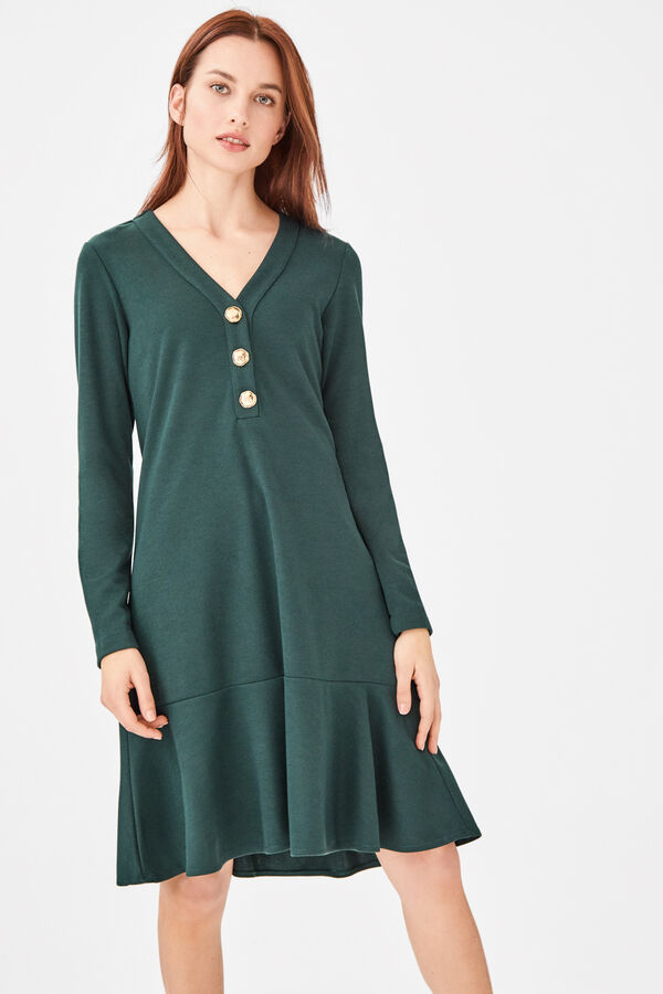 e431cc5b04 Cortefiel Vestido botones Verde. Comprar