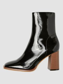 Cortefiel High heel patent ankle boot Black