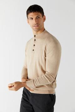 Cortefiel Cotton/cashmere trucker neck jumper Brown